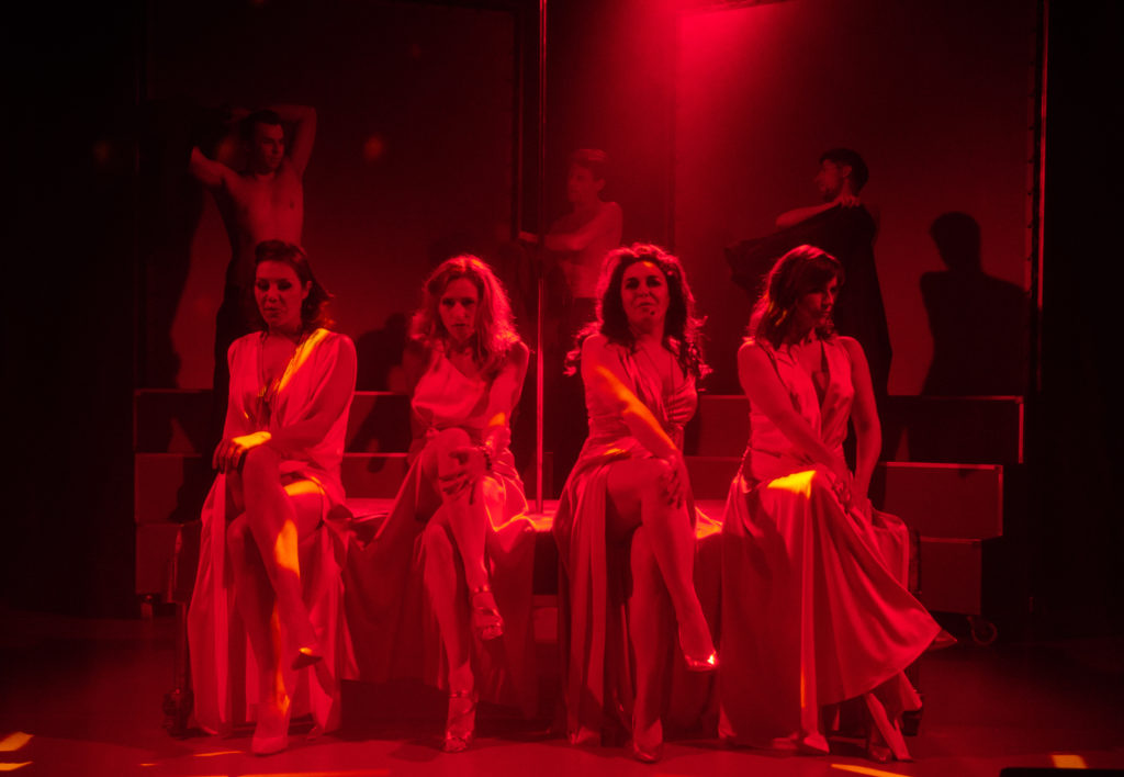 Zdjęcie ze spektaklu, na zdjęciu, od lewej: Anna Rokia, Aleksandra Godlewska, Kamila Klimczak, Anna Branny; z tyłu od lewej: Adam Szarek, Patryk Szwichtenberg, Maciej Sajur